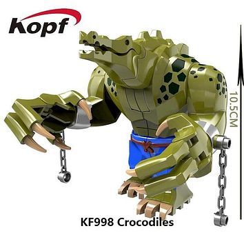 Single Sale 10.5CM Big Size Crocodile killer Super Heroes The Batman Movie Bricks Model Building Blocks Toys for children KF998