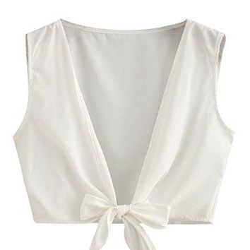 Floerns Womens Summer Knot Front Or V Back Self Tie Crop Top Blouse