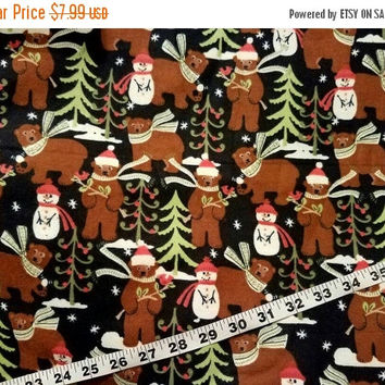 Snowman flannel fabric with bears tree Christmas cotton print quilters sewing material to sew by the yard craft project, bear fabric holiday