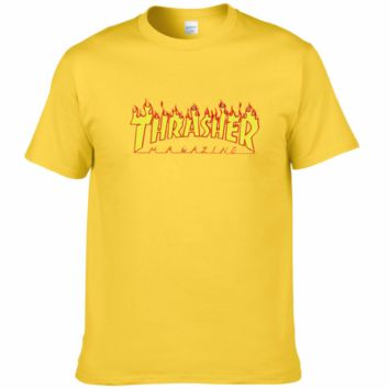 THRASHER classic flame logo summer couple models cotton personality T-shirt F0227-1 Yellow