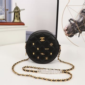 Kuyou Gb99822 Chan Round Shoulder Bag In Black Calf Leather With Badge 13.5*13.5*6.5cm