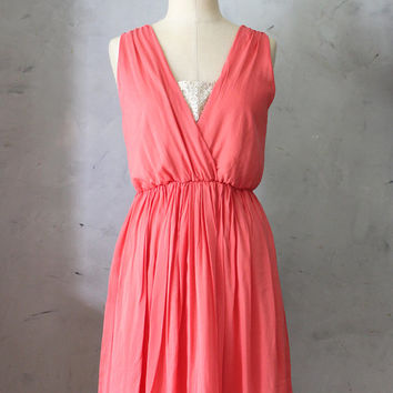 50% OFF SALE Magnolia Coral - Poppy orange coral dress inset panel / V neck / cotton / sleeveless / summer sun dress / wedding / bridesmaid