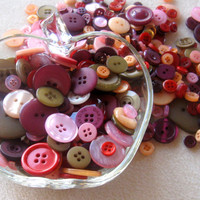 Buttons Plastic 'Passion Fruit' Loose Lot Craft Supplies Scrapbook Embellishments Sewing Notions Button Mix (100)