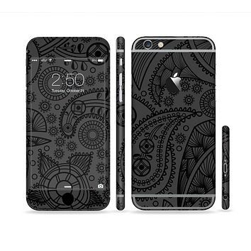 The Dark Gray & Black Paisley Sectioned Skin Series for the Apple iPhone 6 Plus
