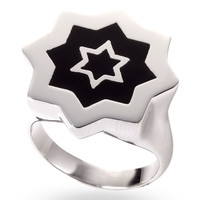 Stainless Steel & Black Abraham David Ring