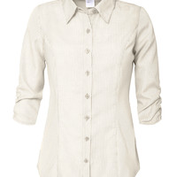 LE3NO Womens Lightweight Stripe Button Down Shirt with Cinched 3/4 Sleeve (CLEARANCE)