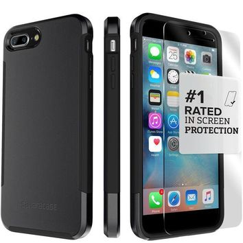 PEAPGQ6 iPhone 8 Plus and 7 Plus Case, SaharaCase Inspire Protective Kit Bundled with [ZeroDamage Tempered Glass Screen Protector] Rugged Slim Fit Shockproof Bumper [Hard PC Back] Protection ¨C Black