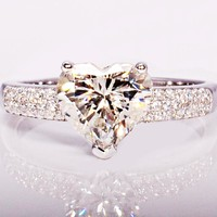 CZ Diamond White Platinum Heart Ring