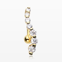 Golden Journey Sparkle Reverse Belly Button Ring