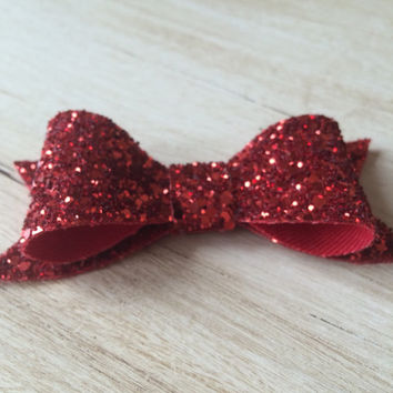Ruby Red Handmade Chunky Glitter Sparkly Hair Bow Clip or Headband