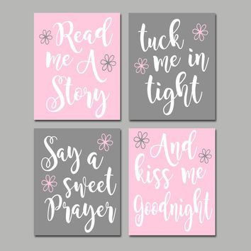 PINK GRAY Nursery Wall Art, Read Me A Story, Kiss Me Goodnight, CANVAS or Print, Nursery Rhyme Quote Decor, Baby Crib Decor, Set of 4