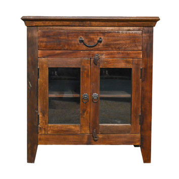 Reclaimed  Rustic Floor Storage Cabinet Table with Glass Doors