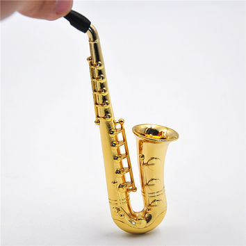 Two Style Small Big 1X Reggae Saxophone Shaped Metal Smoking Pipe. Color Random