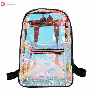 Clear Backpacks popular Street Women Girls Casual Shoulder Bags PVC Clear Laser Hologram Backpack Fashion School Backpack Mochila Feminina AT_62_4