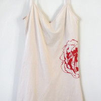 Nude and Hot Pink Rose Chemise hand printed by Blonde Peacock