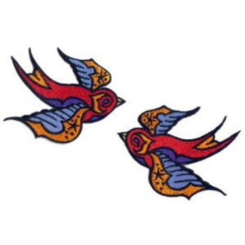 Artist Reed Tattoo Sparrow Swallow Birds Embroidered Iron On Officially Licensed Applique Patch FD