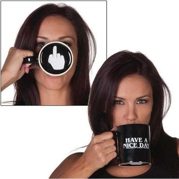 ICIK272 Creative Have a Nice Day Coffee Mug Middle Finger Funny Cup for Coffee Milk Tea Cups Novelty Gifts 10oz