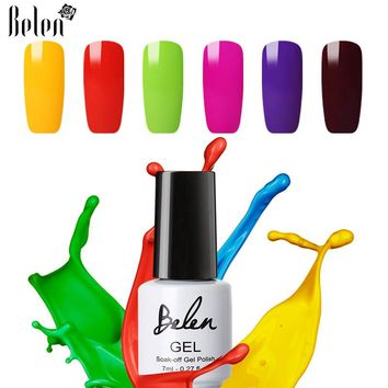 Belen Macaron Series UV Nail Gel Lacquer Nail Art Nail Polish Soak Off Semi Permanent Led Nail Paint Varnish Remover Wraps 7ml