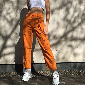 Women Personality Solid Color Corduroy Leisure Straight Cargo Pants Trousers