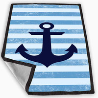 Distrtessed blue stripes with Anchor Blanket for Kids Blanket, Fleece Blanket Cute and Awesome Blanket for your bedding, Blanket fleece **