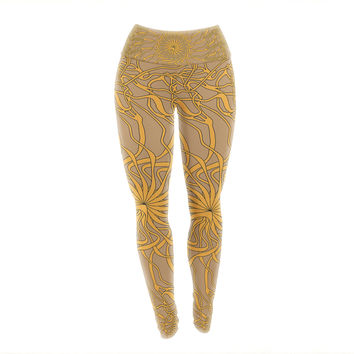 "Patternmuse ""Mandala Spin Latte"" Brown Yellow Yoga Leggings"