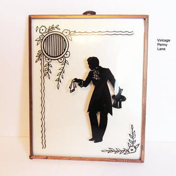 Vintage Silhouette Painting, Art Deco Wall Hanging, Copper Framed, Convex Glass