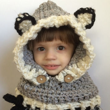 Children's wolf cowl, hooded cowl, kids winter hat, wolf hat
