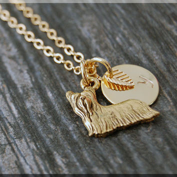 Gold Yorkshire Terrier Charm Necklace, Initial Charm Necklace, Personalized, Dog Lover Charm, Terrier Pendant, Yorkshire Terrier Jewelry