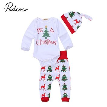 new year baby clothes 3pcs set first Christmas Baby Girl Boy Clothes infant baby letter deer Romper Pants hat xmas baby Outfits