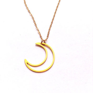 Phase Moon Necklace Gold Filled Necklace Moon Icon Jewelry Design Logo Necklace Beep Jewellery Gold Plated Small Pendant Miniature