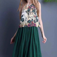 Green Floral Sleeveless Layered Mid Dress