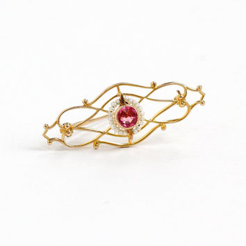 Antique Art Deco 10k Gold Simulated Pink Sapphire & Seed Pearl Pin - 1920s Pink Glass Open Filigree Elegant Fine Jewelry Brooch