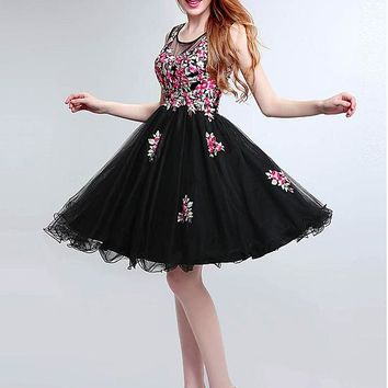 [138.99] Attractive Tulle Jewel Neckline Ball Gown Homecoming Dresses - dressilyme.com