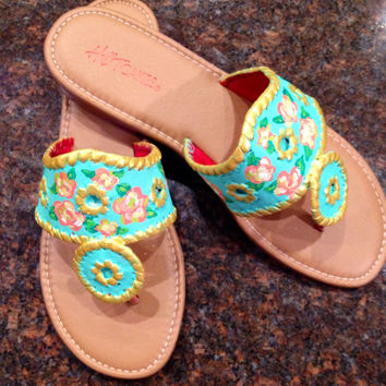 Jack Roger inspired sandals by palms painted with Lilly Pulitzer like design