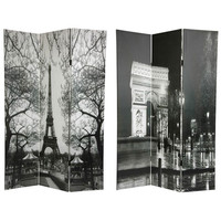 Oriental Furniture CAN-PARIS2 Six Ft. Tall Double Sided Paris Canvas Room Divider - Eiffel Tower/Arc de Triomphe, Width - 48 Inches