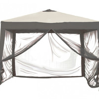 Patio Bliss STOW-EZ 10' X 10' Pop-Up Canopy with Mesquito Net and Carry Bag - Charcoal Grey