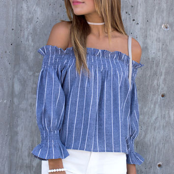 Mon Stripe Off The Shoulder Top - Blue