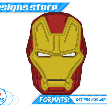 Ironman Face Applique embroidery Design