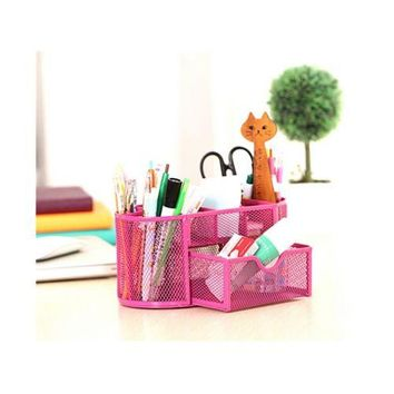 9 Slots Compartments Desk Organizer Pen Holder Rack Office Stationary  Rose Red