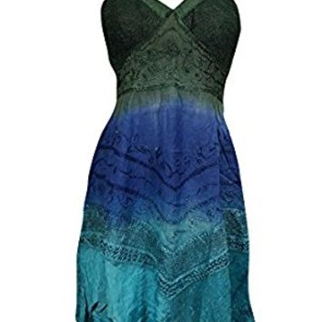 Mogul Womens Bohemian Dress Blue Green Tie-Dye Embroidered Halter Neck Dresses