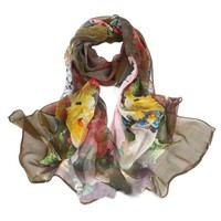 YCB Women's Mulberry Silk Abstract Print Scarf Multi-Color