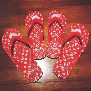 Supreme x LV Women Casual Print Logo Beach Sandal Slipper Shoes