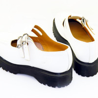 """Doc Marten size 10.5 """"Mary Jane"""" white womens shoe with double buckle"""
