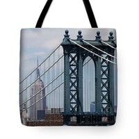 "Empire State Building Manhattan Bridge Tote Bag 18"" x 18"""