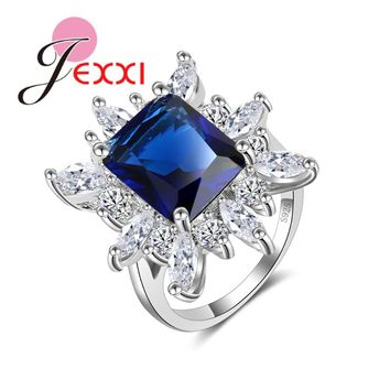 JEXXI Exaggerate European Style Big Square Colorful Clear CZ Zircon Crystal Flower Ring for Women Tide 925 Sterling Silver Ring