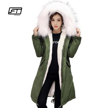 Fitaylor Winter Women Jacket Slim Duck Down Coat Large Fur Collar Warm Hooded Parkas Rabbit Fur Bladder Military Snow Outwear