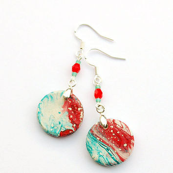 Red boho earrings. Turquoise and red earrings. Chipping paint. Worn-out look.