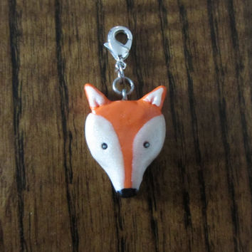 Fox Polymer Clay Charm, Clip On, Zipper pull in Orange, Pearl white and Black for purse, bag or tote