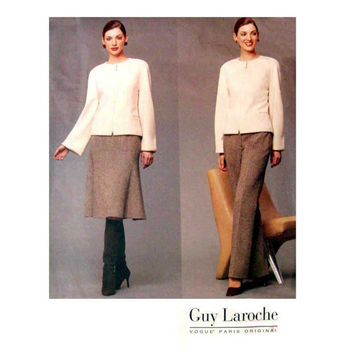 Guy Laroche Lined Jacket, Slightly Flared Skirt, and Pants Vogue 2578 Misses' Size 8, 10, 12 Bust 31.5, 32.5, 34 Sewing Pattern Uncut