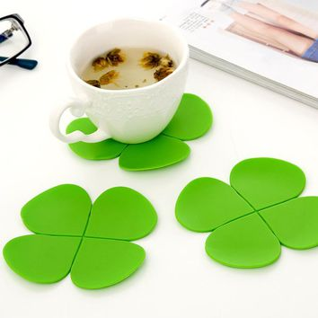 9.5*9.5cm Silicone Cartoon Clover Cup Coaster Nonslip Place Mat pads Cup Cushion Minions Tea Cup Holder Decorative Mats & Pads